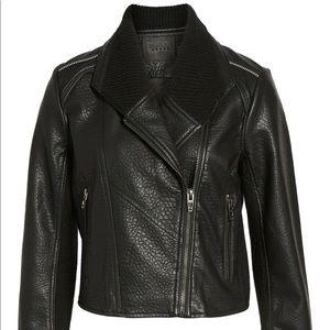Blank NYC Vegan Leather Jacket Ribbed Knit Collar